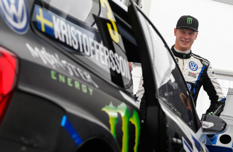 Johan Kristoffersson on the podium in Portugal